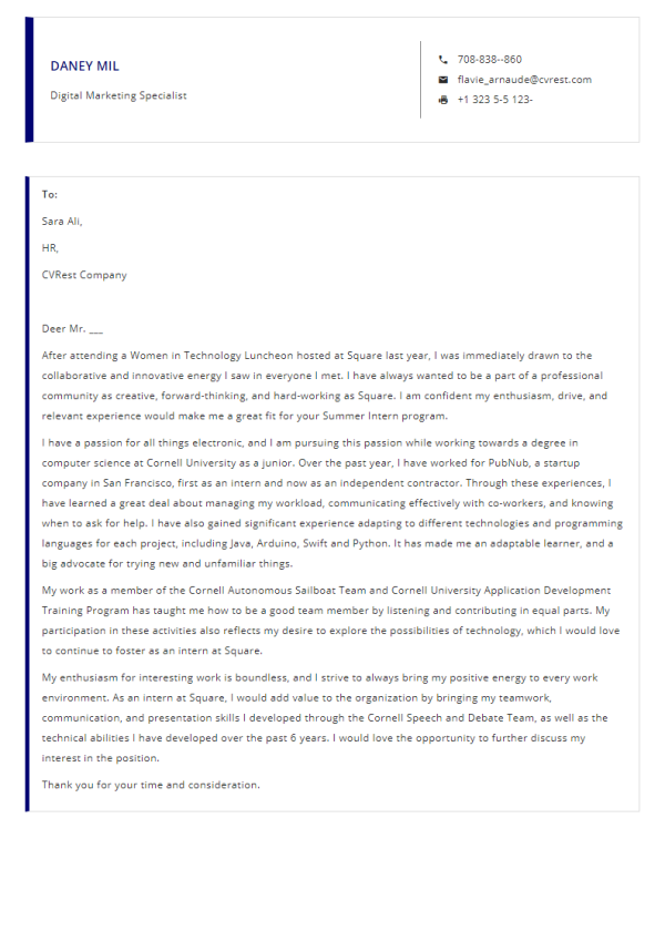 Free Professional Cover Letter Template 1