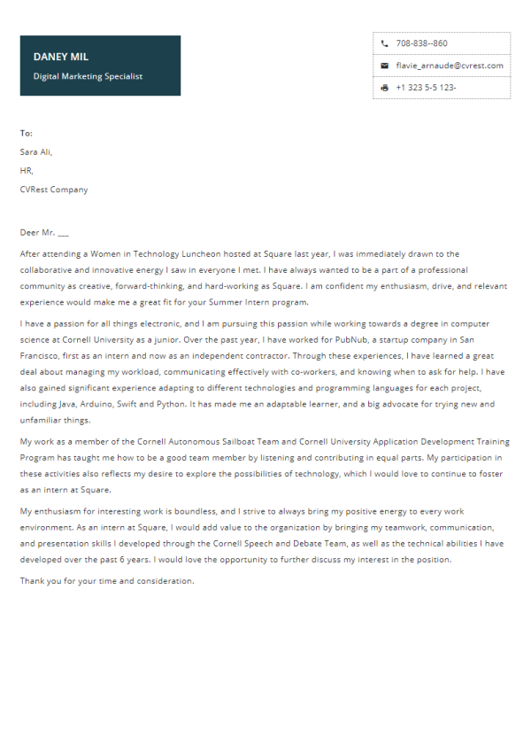 Free Professional Cover Letter Template 12