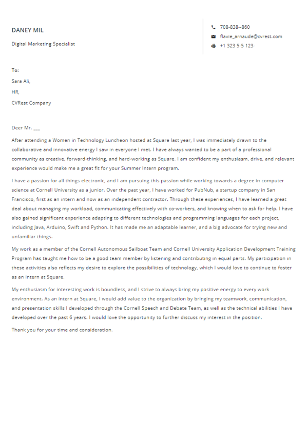 Free Professional Cover Letter Template 3