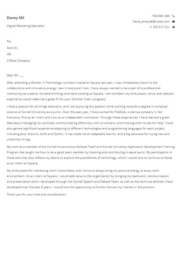 Free Professional Cover Letter Template 4