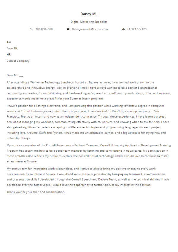 Free Professional Cover Letter Template 2