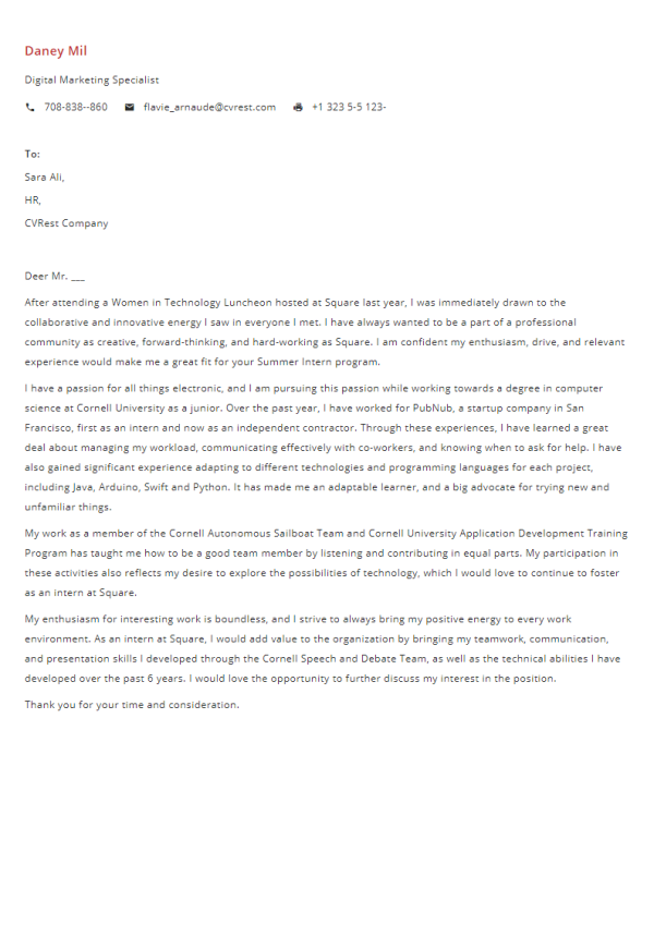Free Professional Cover Letter Template 6