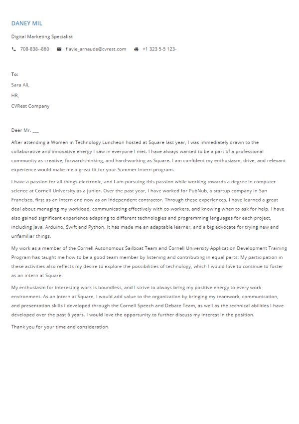 Free Professional Cover Letter Template 7
