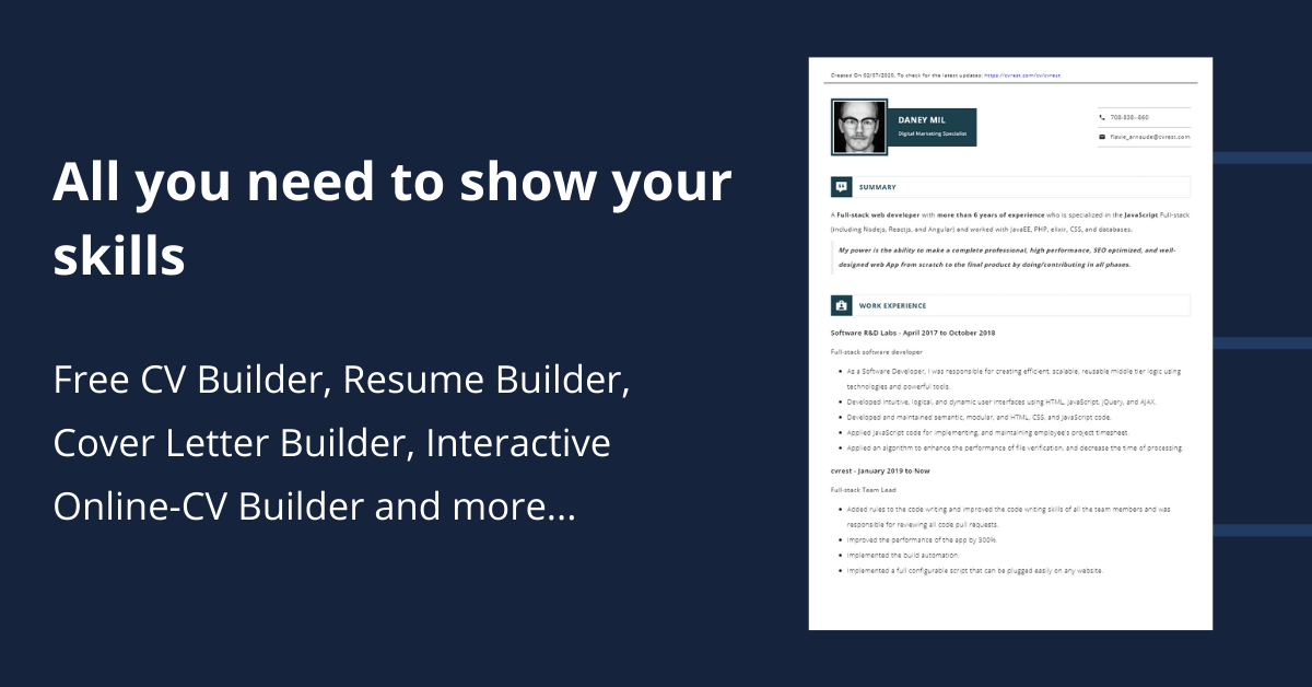 Free Cv Builder Fast And Easy To Use Start Now Cvrest