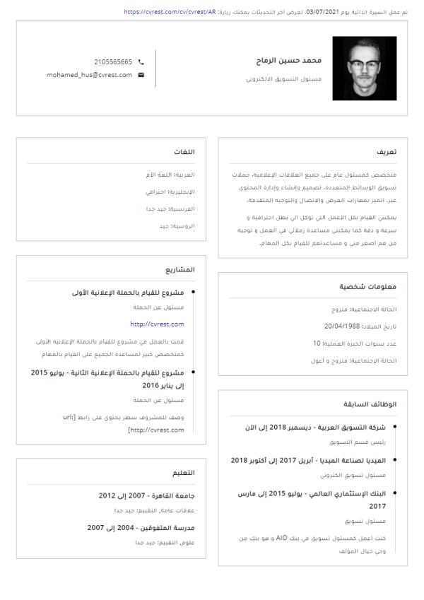 مجاني -  قالب سيرة ذاتية من صفحة واحدة 3